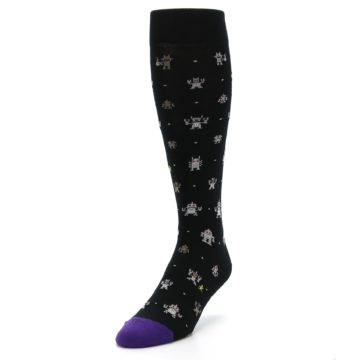 Image of Black Robots Men's Over-the-Calf Dress Socks (side-2-front-07)