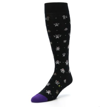 Image of Black Robots Men's Over-the-Calf Dress Socks (side-2-front-08)