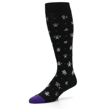 Image of Black Robots Men's Over-the-Calf Dress Socks (side-2-09)