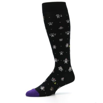 Image of Black Robots Men's Over-the-Calf Dress Socks (side-2-10)