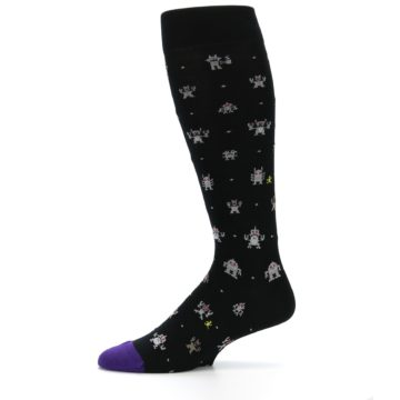 Image of Black Robots Men's Over-the-Calf Dress Socks (side-2-11)