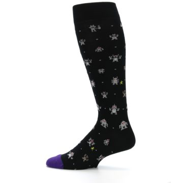 Image of Black Robots Men's Over-the-Calf Dress Socks (side-2-12)