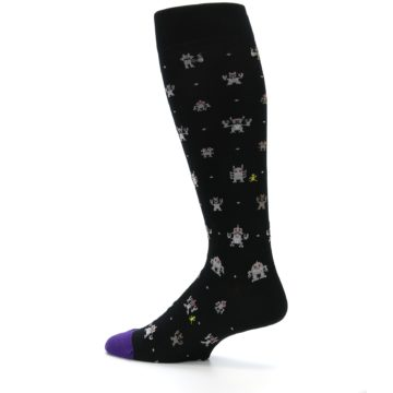 Image of Black Robots Men's Over-the-Calf Dress Socks (side-2-13)