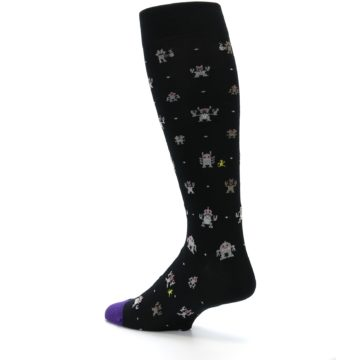 Image of Black Robots Men's Over-the-Calf Dress Socks (side-2-back-14)