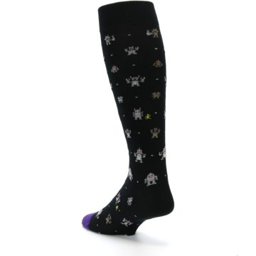 Image of Black Robots Men's Over-the-Calf Dress Socks (side-2-back-15)