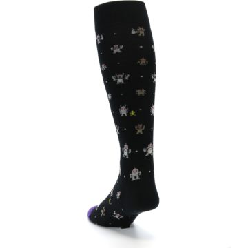 Image of Black Robots Men's Over-the-Calf Dress Socks (side-2-back-16)
