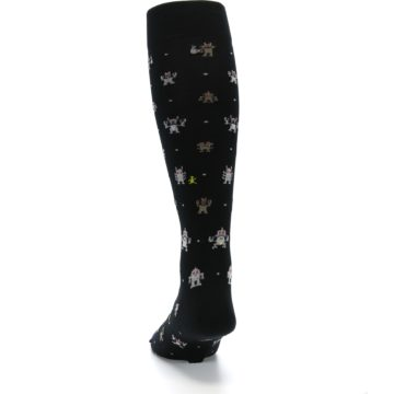 Image of Black Robots Men's Over-the-Calf Dress Socks (back-17)