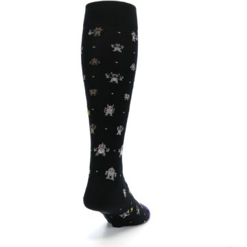 Image of Black Robots Men's Over-the-Calf Dress Socks (side-1-back-20)