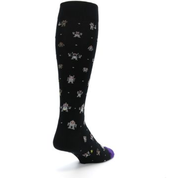 Image of Black Robots Men's Over-the-Calf Dress Socks (side-1-back-21)