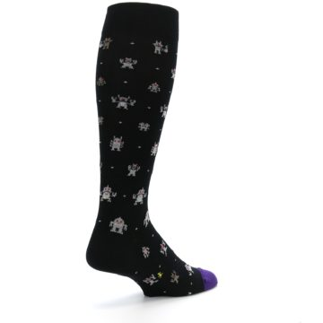 Image of Black Robots Men's Over-the-Calf Dress Socks (side-1-back-22)