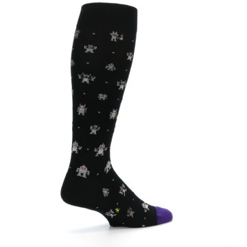 Image of Black Robots Men's Over-the-Calf Dress Socks (side-1-23)