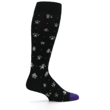 Image of Black Robots Men's Over-the-Calf Dress Socks (side-1-24)