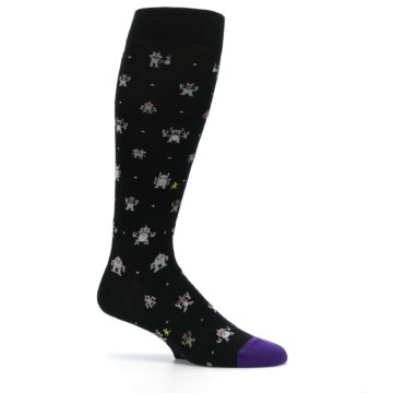 Image of Black Robots Men's Over-the-Calf Dress Socks (side-1-25)