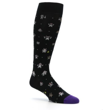 Image of Black Robots Men's Over-the-Calf Dress Socks (side-1-26)