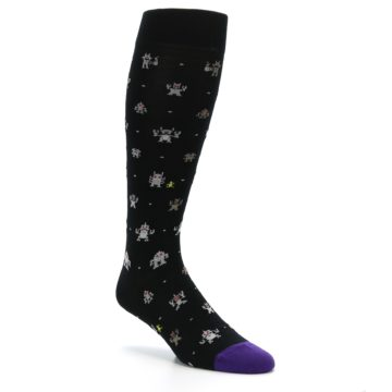 Image of Black Robots Men's Over-the-Calf Dress Socks (side-1-27)