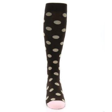 Image of Brown Tan Polka Dot Men's Over-the-Calf Dress Socks (front-04)