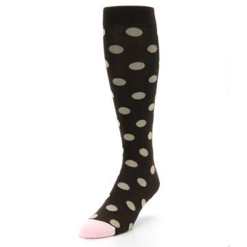Image of Brown Tan Polka Dot Men's Over-the-Calf Dress Socks (side-2-front-07)