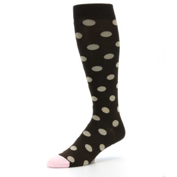 Image of Brown Tan Polka Dot Men's Over-the-Calf Dress Socks (side-2-09)