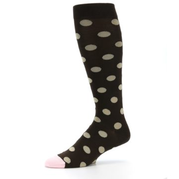 Image of Brown Tan Polka Dot Men's Over-the-Calf Dress Socks (side-2-10)