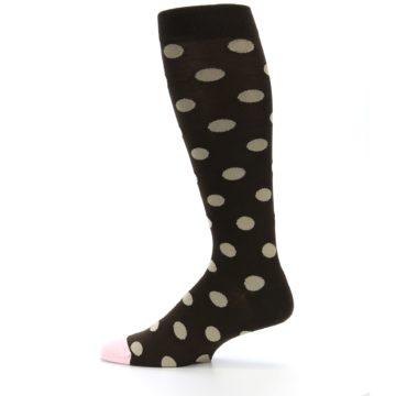 Image of Brown Tan Polka Dot Men's Over-the-Calf Dress Socks (side-2-12)