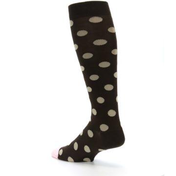 Image of Brown Tan Polka Dot Men's Over-the-Calf Dress Socks (side-2-back-14)