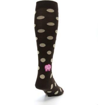 Image of Brown Tan Polka Dot Men's Over-the-Calf Dress Socks (side-1-back-20)