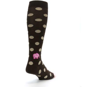 Image of Brown Tan Polka Dot Men's Over-the-Calf Dress Socks (side-1-back-21)