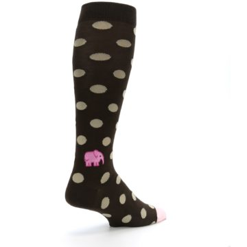 Image of Brown Tan Polka Dot Men's Over-the-Calf Dress Socks (side-1-back-22)