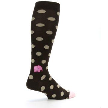 Image of Brown Tan Polka Dot Men's Over-the-Calf Dress Socks (side-1-23)