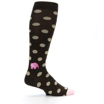 Image of Brown Tan Polka Dot Men's Over-the-Calf Dress Socks (side-1-24)