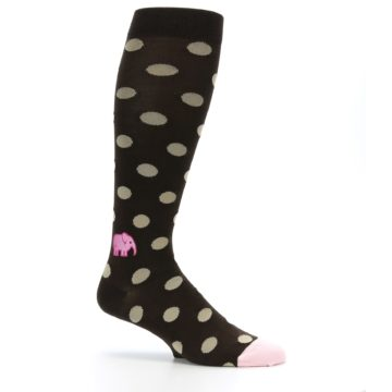 Image of Brown Tan Polka Dot Men's Over-the-Calf Dress Socks (side-1-25)