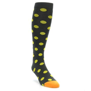 Image of Grey Yellow Polka Dot Men's Over-the-Calf Dress Socks (side-1-front-02)