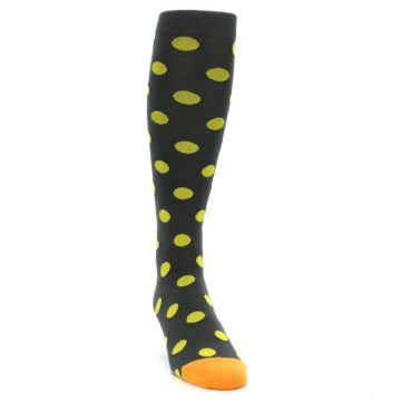 Image of Grey Yellow Polka Dot Men's Over-the-Calf Dress Socks (side-1-front-03)