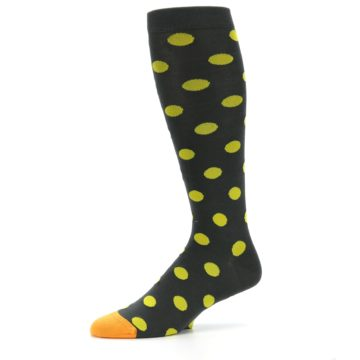 Image of Grey Yellow Polka Dot Men's Over-the-Calf Dress Socks (side-2-10)