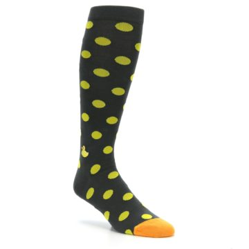 Image of Grey Yellow Polka Dot Men's Over-the-Calf Dress Socks (side-1-27)