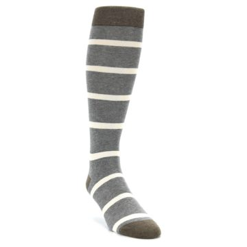 Image of Grey Cream Stripe Men's Over-the-Calf Dress Socks (side-1-front-02)