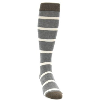 Image of Grey Cream Stripe Men's Over-the-Calf Dress Socks (side-1-front-03)