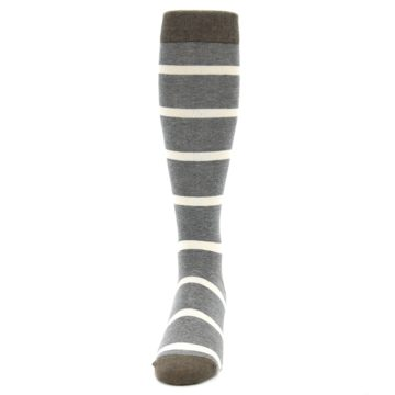 Image of Grey Cream Stripe Men's Over-the-Calf Dress Socks (front-05)
