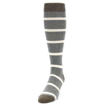 Image of Grey Cream Stripe Men's Over-the-Calf Dress Socks (side-2-front-06)