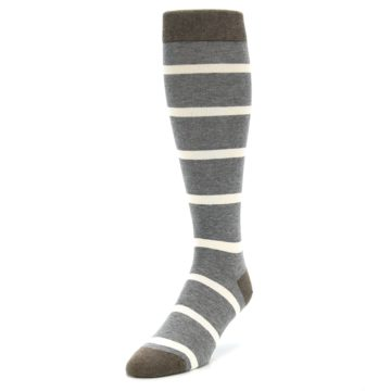 Image of Grey Cream Stripe Men's Over-the-Calf Dress Socks (side-2-front-07)