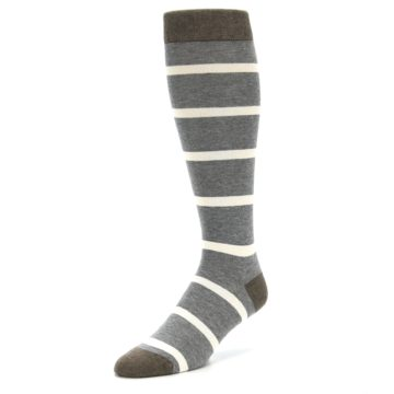 Image of Grey Cream Stripe Men's Over-the-Calf Dress Socks (side-2-front-08)