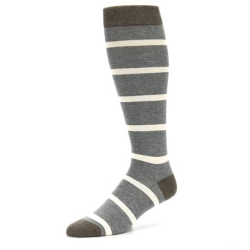 Image of Grey Cream Stripe Men's Over-the-Calf Dress Socks (side-2-09)