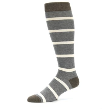 Image of Grey Cream Stripe Men's Over-the-Calf Dress Socks (side-2-10)