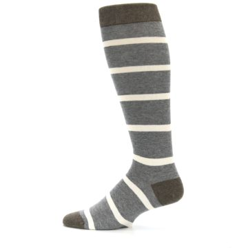 Image of Grey Cream Stripe Men's Over-the-Calf Dress Socks (side-2-12)