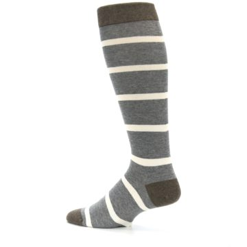 Image of Grey Cream Stripe Men's Over-the-Calf Dress Socks (side-2-13)