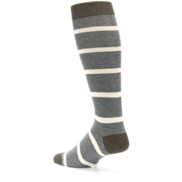 Image of Grey Cream Stripe Men's Over-the-Calf Dress Socks (side-2-back-14)