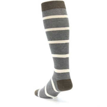 Image of Grey Cream Stripe Men's Over-the-Calf Dress Socks (side-2-back-15)