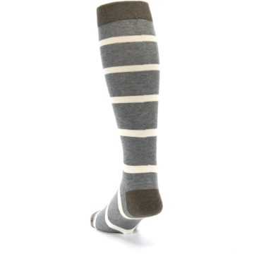 Image of Grey Cream Stripe Men's Over-the-Calf Dress Socks (side-2-back-16)