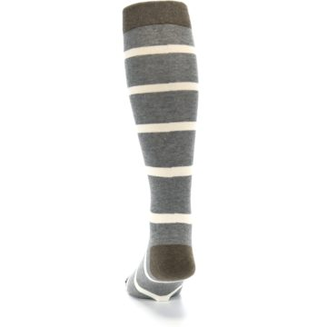 Image of Grey Cream Stripe Men's Over-the-Calf Dress Socks (back-17)