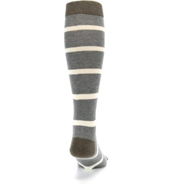 Image of Grey Cream Stripe Men's Over-the-Calf Dress Socks (back-19)